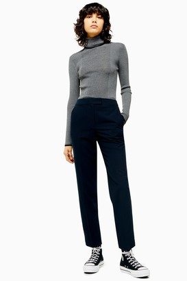 Topshop Womens Navy Cigarette Trousers - Navy Blue