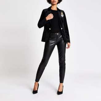 River Island Womens Black velvet badge embellished blazer