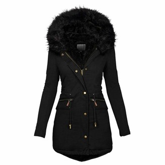 TDZD Womens Winter Parka Quilted Hooded Long Coat Jacket Windproof Thickened Warm Faux Fur Lined Body Zip Pockets Overcoat Parka