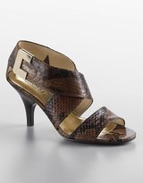 Michael Michael kors Beverly Snake-Embossed Leather Sandals