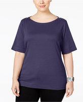 Karen Scott Plus Size Zipper-Shoulder Top, Only at Macy's