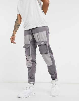 Liquor N Poker cargo pants with patch pockets in lilac and gray