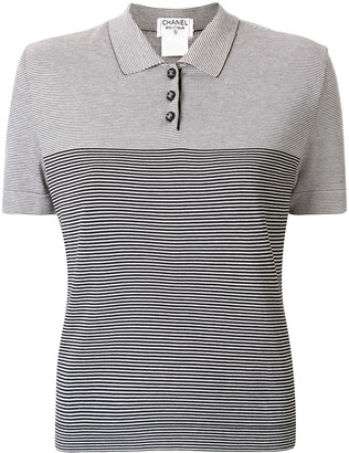 Chanel Pre Owned Striped Polo Shirt