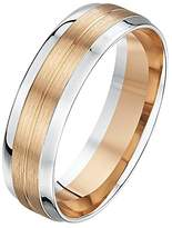 Theia His & Hers 14ct Rose and White Gold Two-Tone 4mm Centre Grooved Diamond Wedding Ring - Size O