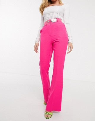 clear Asos Design ASOS DESIGN pop pink slim kick flare trousers with belt