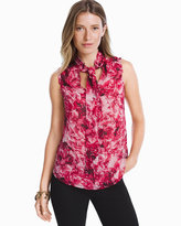 White House Black Market Floral Tie-Front Shell Top