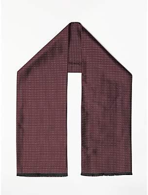 John Lewis & Partners Dot Silk Dress Scarf, One Size, Burgundy