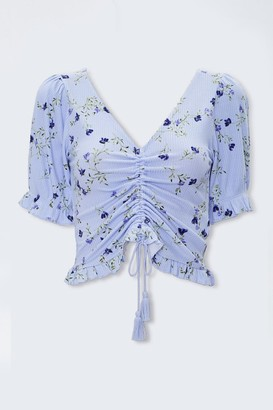 Forever 21 Ruched Floral Print Top