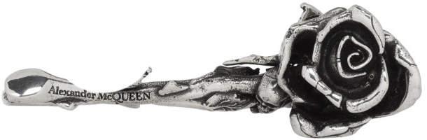 Alexander McQueen Gunmetal Rose Three-Finger Ring