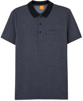 Boss Picton Navy Printed Cotton Polo Shirt