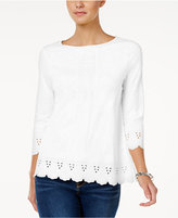 Charter Club Cotton Eyelet-Trim Top, Created for Macy's