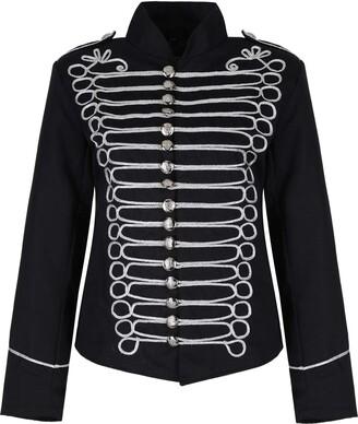 Ro Rox Ladies Emo Punk Goth Napoleon Military Drummer Parade Jacket - Black & Silver (UK 16)