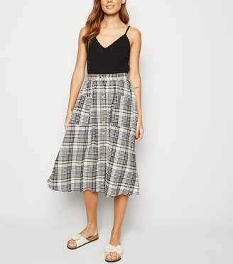 New Look Check Button Front Midi Skirt