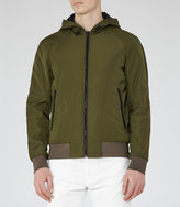 Reiss Reiss Marchland - Hooded Bomber Jacket In Brown