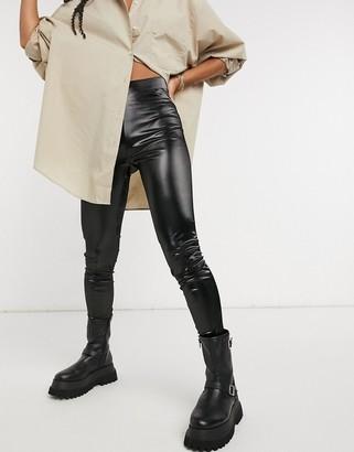 Bershka vinyl effect leggings in black
