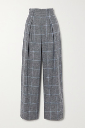Yoox Net A Porter For The Prince's Foundation YOOX NET-A-PORTER For The Prince's Foundation - Prince Of Wales Checked Cashmere Wide-leg Pants - Dark gray