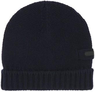 Prada Logo Patch Knitted Beanie