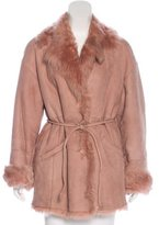Salvatore Ferragamo Fur-Trimmed Belted Coat