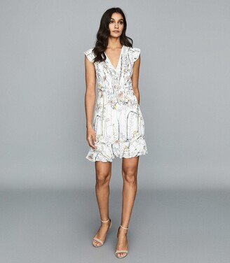 Reiss Juliette - Floral Printed Mini Dress in Multi