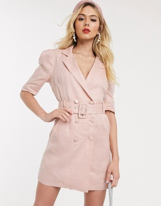Collective The Label tux dress in pink linen look