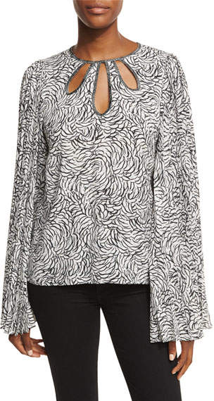 Andrew Gn Keyhole Knife-Pleated Long-Sleeve Blouse