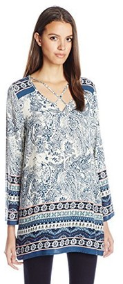 Blu Pepper Women's Woven Printed Tunic Top