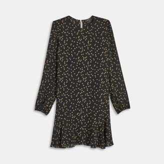 Theory Silk Star Print Flared Dress