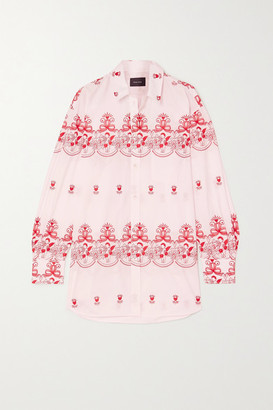 Simone Rocha Oversized Embroidered Cotton-poplin Shirt - Pink