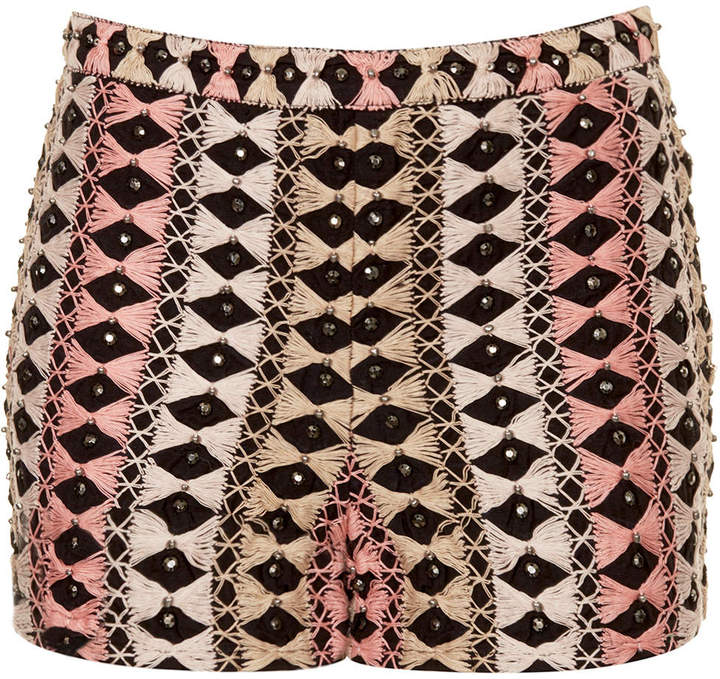 Topshop Thread bead embroidered shorts