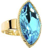 Body Candy Brilliant Blue Faceted Teardrop Adjustable Ring