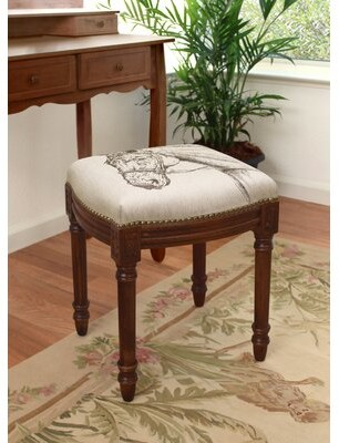 Charlton Homeâ® Port Pirie Horse Linen Upholstered Wooden Vanity Stool Charlton HomeA