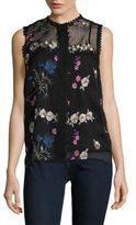 T Tahari Floral Embroidered Shell