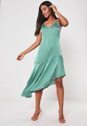 Missguided Aqua Satin Cami Asymmetric Midi Dress