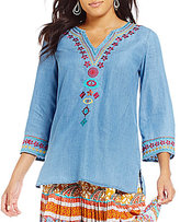 Multiples Petites Notch V-Neck 3/4 Sleeve Embroidered Tunic