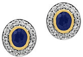 Effy 925 Blue Sapphire, White Sapphire, 18K Yellow Gold and Sterling Silver Stud Earrings