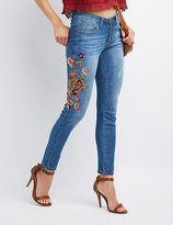 Charlotte Russe Machine Jeans Embroidered Distressed Skinny Jeans
