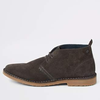 River Island Mens Grey suede wide fit desert boots