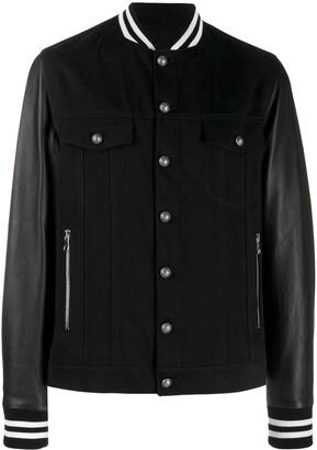 Balmain Striped Trim Bomber Jacket