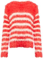Benetton Girls Long Sleeve Fluffy Stripe Knit Jumper