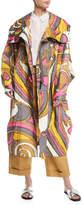 Marc Jacobs Swirl-Print Hooded Oversized Techno Coat
