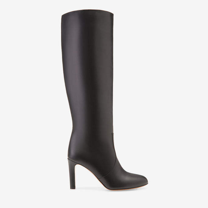 Bally Bounty Black, Women's calf nappa leather high boot with 85mm heel in black
