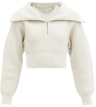 Jacquemus Risoul Sailor-collar Merino-wool Sweater - Light Grey