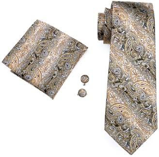 Hi Tie Hi-Tie Men White Gold Paisley Floral Tie Necktie with Cufflinks and Pocket Square Tie Set (0271)