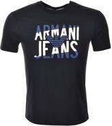 Giorgio Armani Jeans Logo Crew Neck T Shirt Blue
