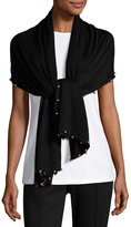 Neiman Marcus Long Beaded Wool Scarf, Black/Gold