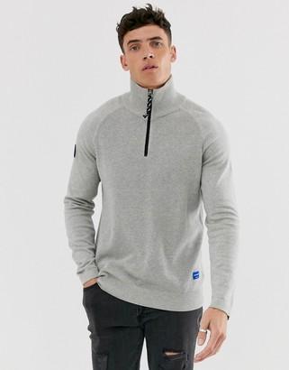 Jack and Jones Originals half zip knitted jumper in grey