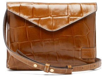 STAUD Hollie Crocodile-effect Leather Cross-body Bag - Tan