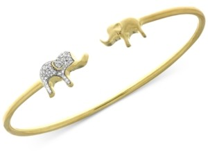 Wrapped Diamond Elephant Open Bangle Bracelet (1/6 ct. t.w.) in Sterling Silver and 14k Gold-Plate, Created for Macy's