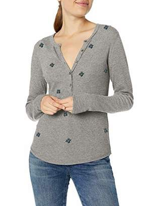 Lucky Brand Women's Allover Embroidered Thermal Top