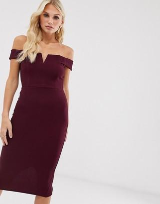 AX Paris bardot bodycon dress-Purple
